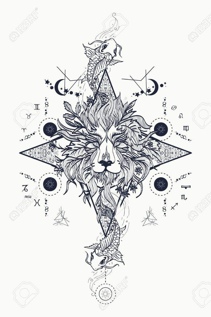 Mystic lion and carp, medieval astrological symbols, occult tattoo