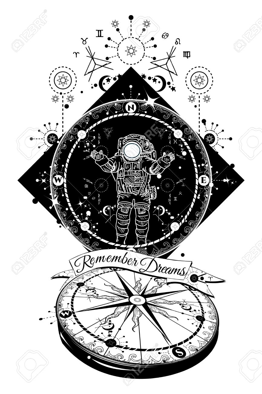 Astronaut In Deep Space Tattoo Travel In Boundless Universe