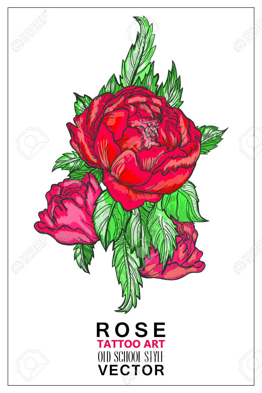 Rose Colored Tattoo Old School Style Vector Symbol Of Love