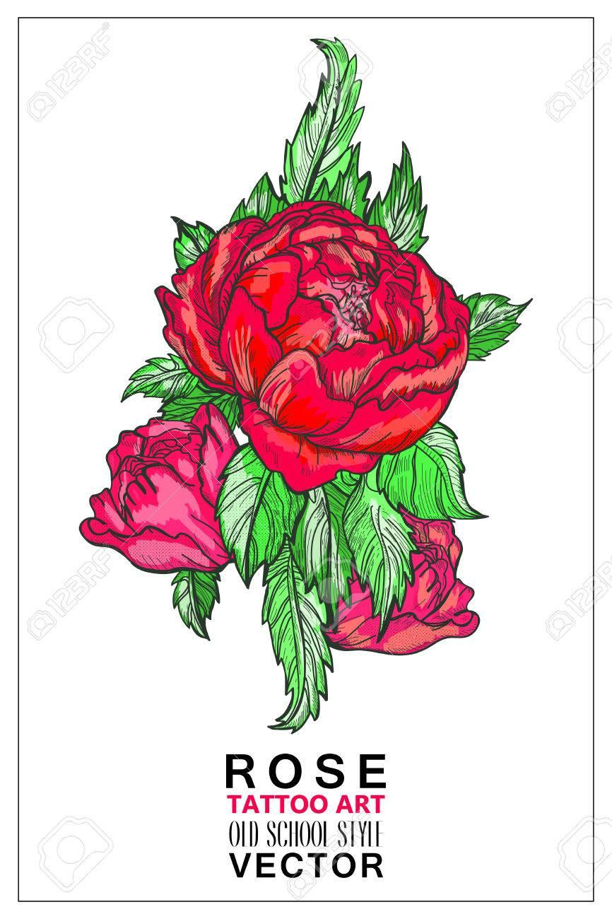 Rose Vecteur Vieux Ecole Style De Tatouage De Couleur Symbole De L