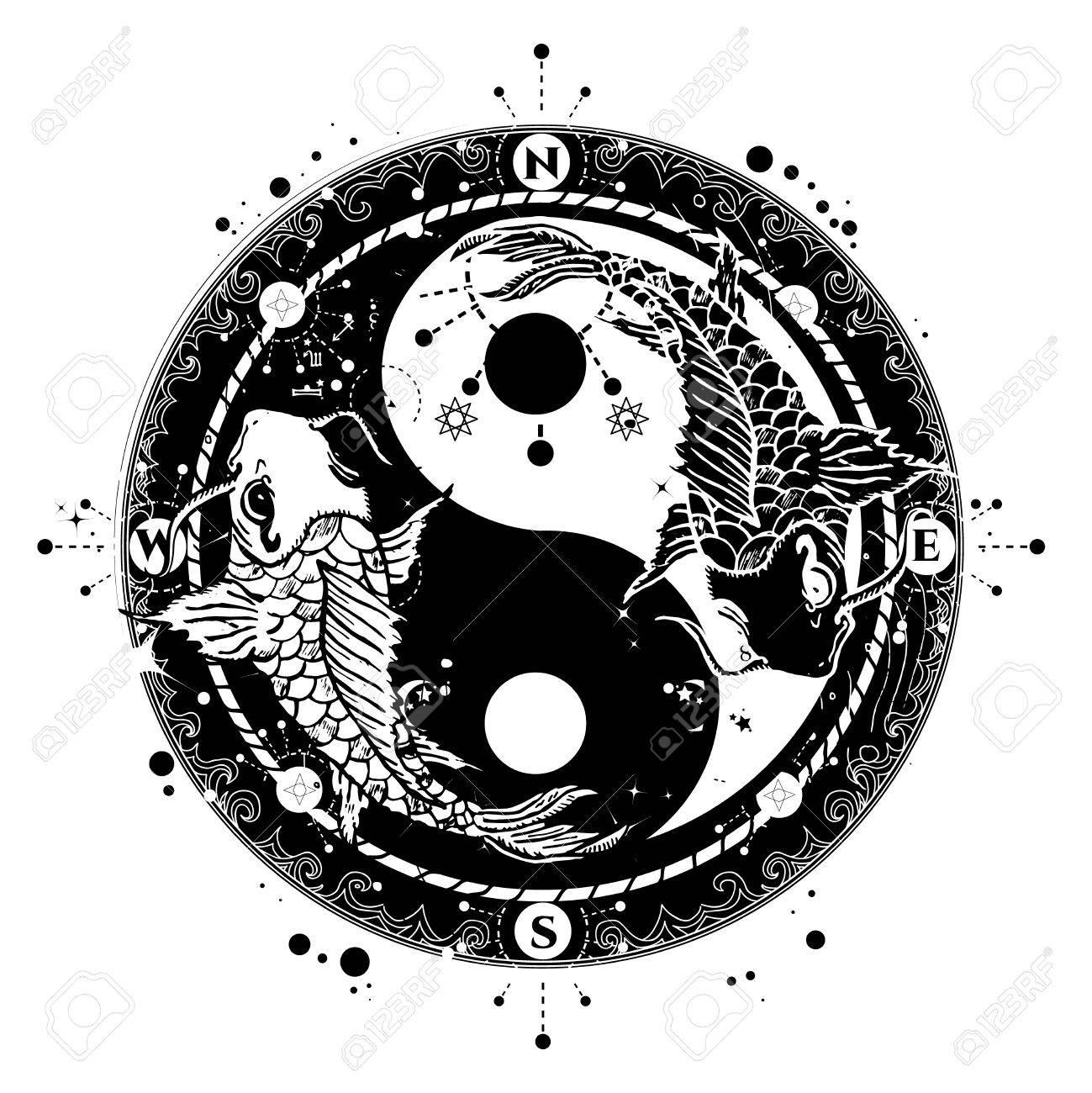 Yin Et Yang Vecteur De L Art Du Tatouage Deux Styles Carpe Boho Japonais Symbole De La Meditation La Philosophie L Harmonie