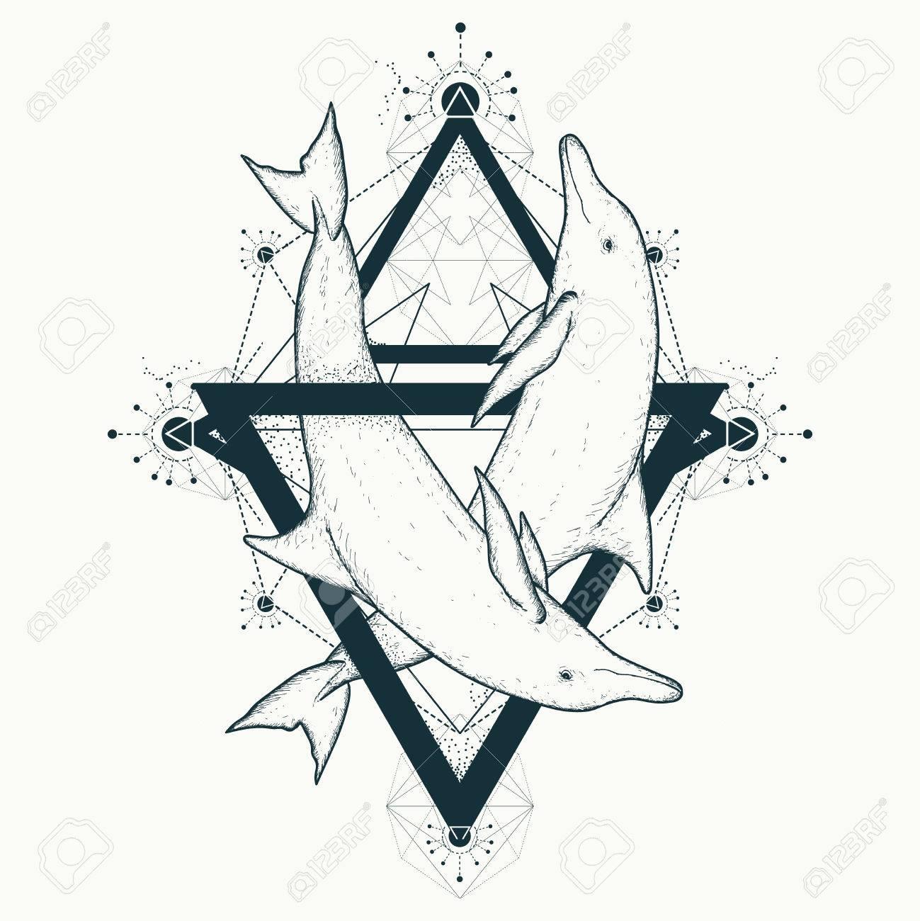 Deux Tatouages De Dauphins Symboles D Amour Style D Art