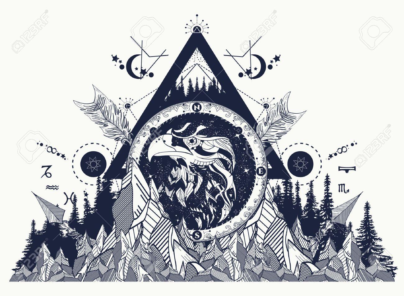 Tatuaje Aguila arte del tatuaje águila, montañas, cruzaron flechas, bosque