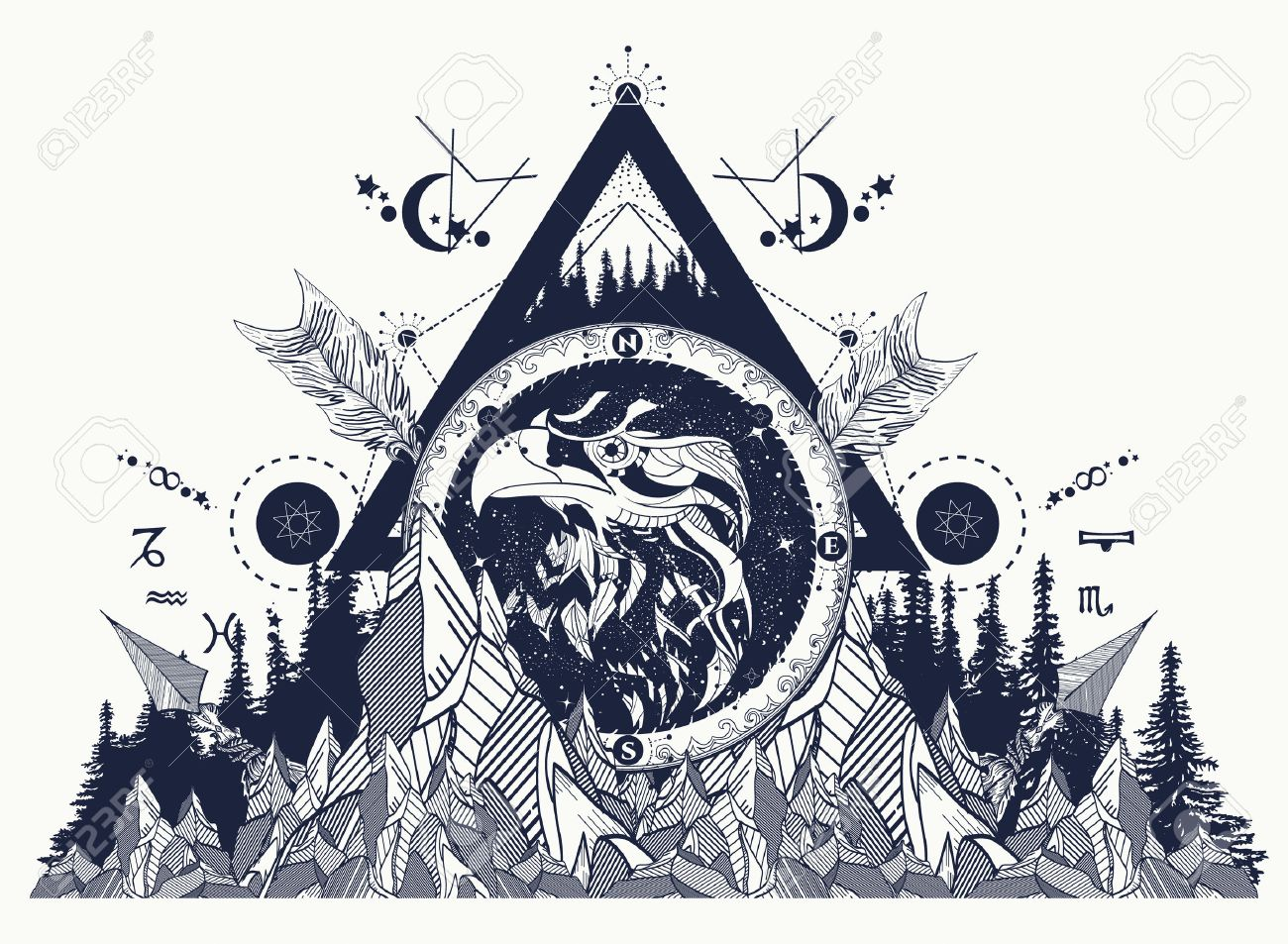 Eagle  tattoo art, mountains, crossed arrows, forest. ?strological symbols, ethnic style, falcon in rocks. Creative t-shirt design, spirituality, boho, magic symbol. Foto de archivo - 66780097