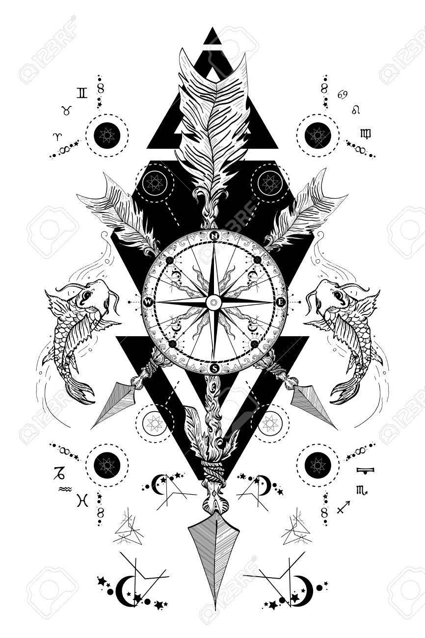 Rose Compass And Crossed Arrows Tattoo Boho Style Adventure Travel Magical Symbols