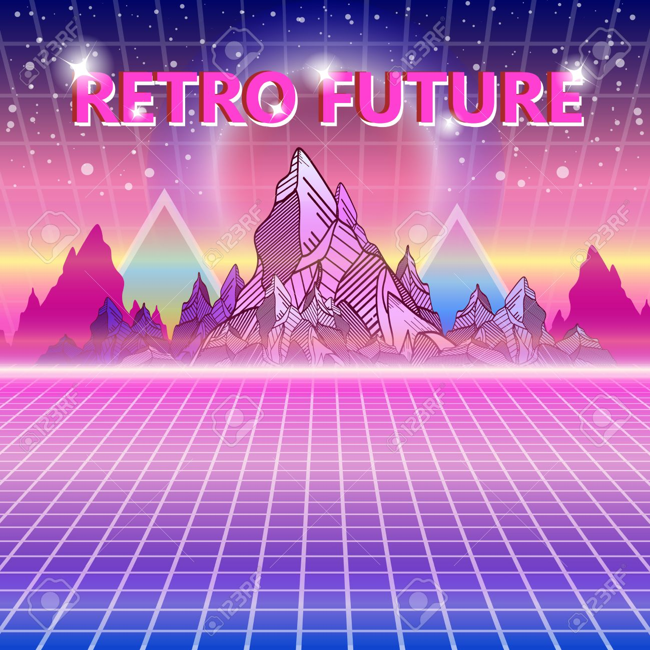 Retro Future 80s Style Sci Fi Background Wave Music Album Cover