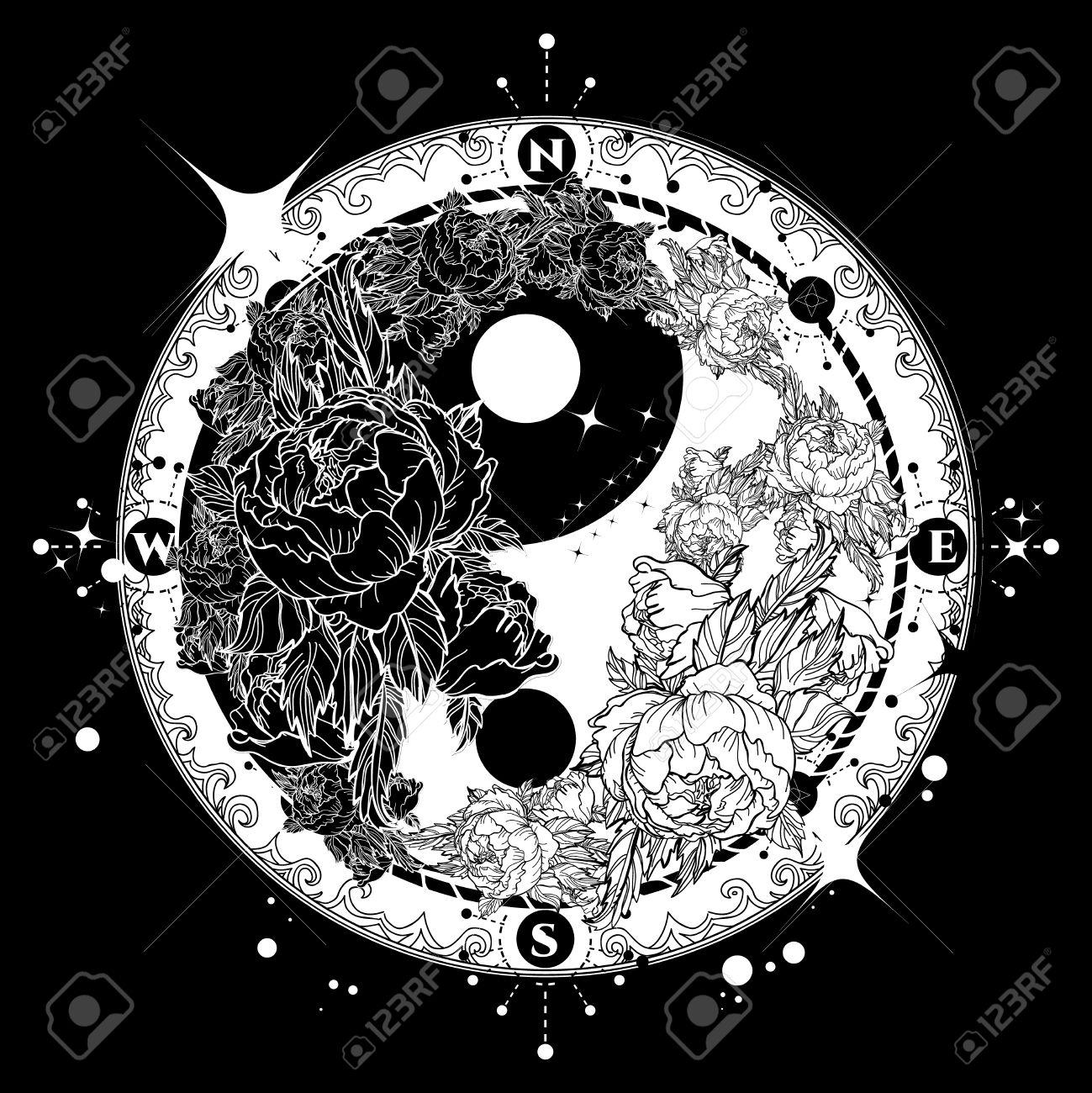 Yin And Yang Tattoo Art Vector. Boho Style Mandala Yin Yang ...