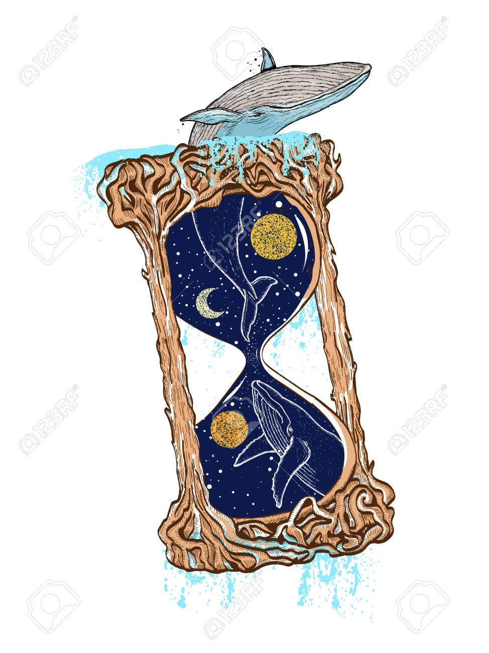 Whale jumping out of the hourglass color tattoo travel adventure whale jumping out of the hourglass color tattoo travel adventure outdoors symbol biocorpaavc Images