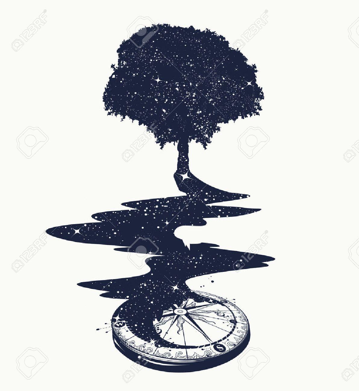 Arte Mágico Tatuaje Del árbol Río De Estrellas Símbolo De La