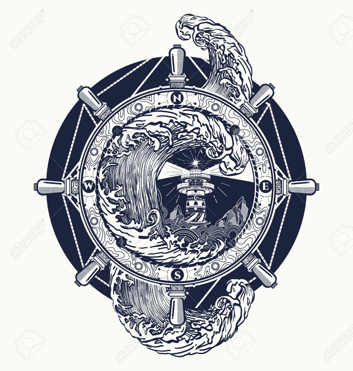 Steering wheel ship tatto art, sea tattoo and t-shirt design. Lighthouse storm. Decorative lighthouse. Searchlight tower for maritime navigational guidance tattoo. Ocean wave storm art - 66780174
