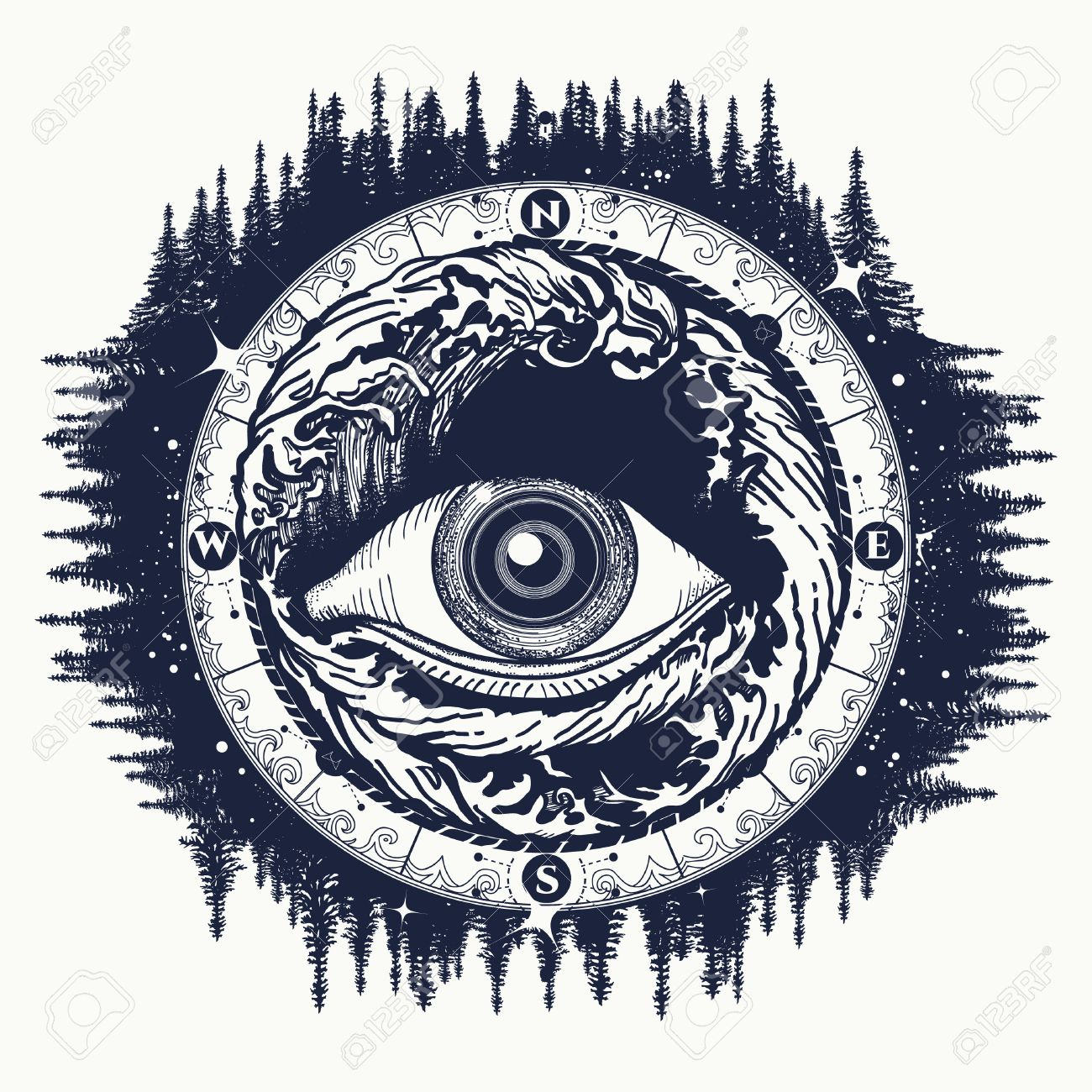 All Seeing Eye Tattoo Tourism In A Mystical Style Vector Alchemy Spirituality