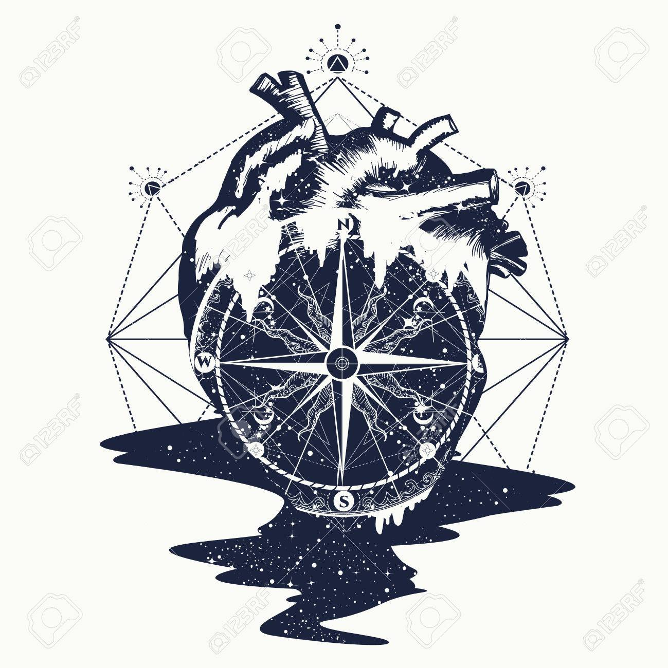 3b46f294b8c13 Compass in the heart steampunk tattoo, geometric style. Symbol of travel  and love vector