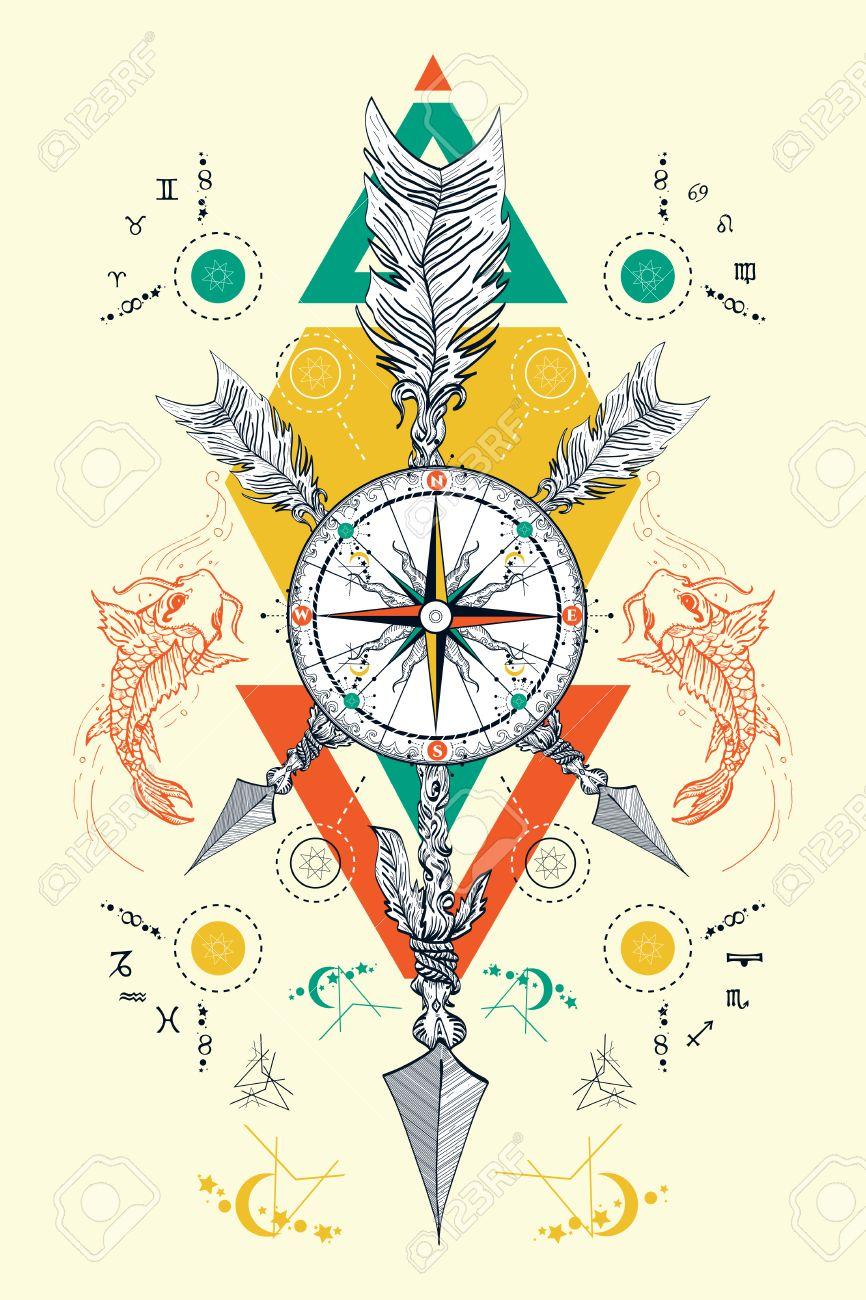 Rose Boussole Et Traverse Fleches Tatouage Symboles Magiques
