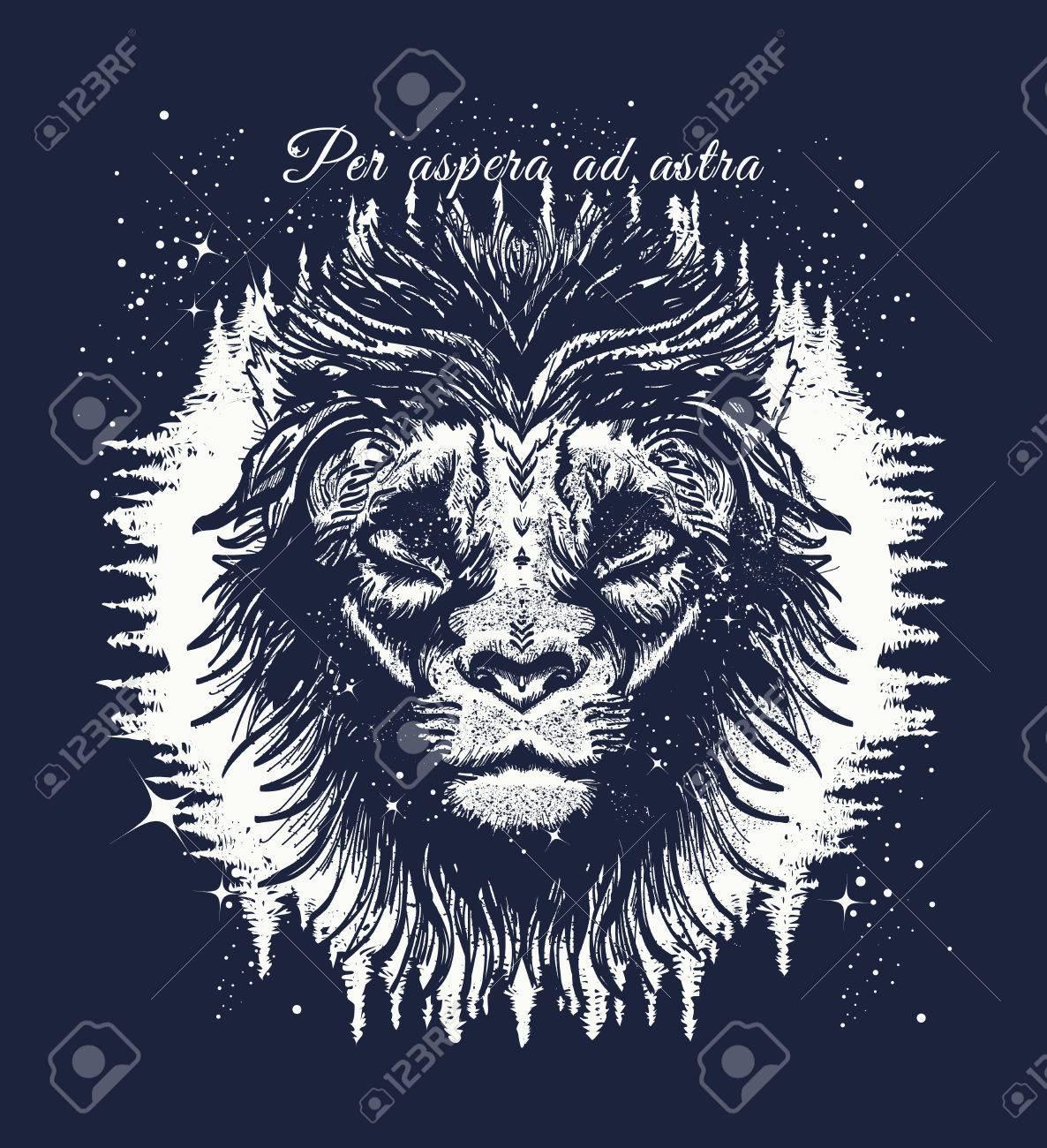 Leo In The Night Forest Tattoo Art. Slogan - Per Aspera Ad Astra ... - Per Aspera Ad Astra Tattoo