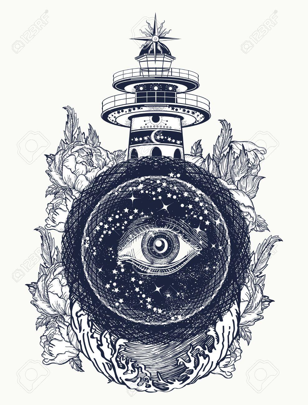 Lighthouse, roses and all seeing eye tattoo. Freemason, spiritual, illuminati, secret and mystical signs tattoo. Lighthouse in the storm, and the all seeing eye t-shirt design - 67158629