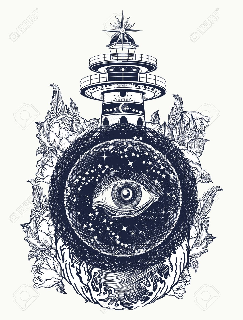 Lighthouse, roses and all seeing eye tattoo  Freemason, spiritual,