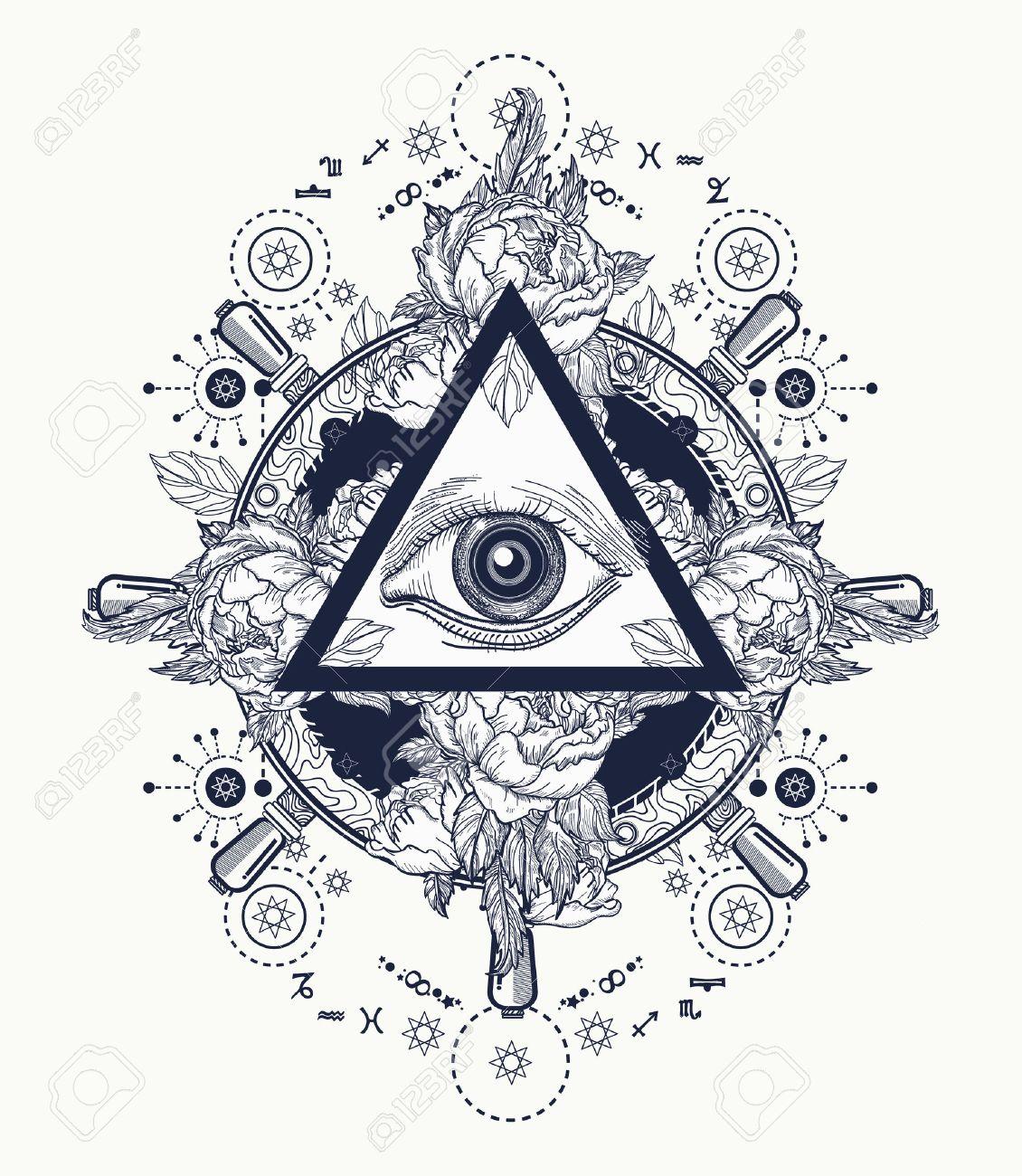 All seeing eye pyramid tattoo art freemason and spiritual symbols all seeing eye pyramid tattoo art freemason and spiritual symbols alchemy medieval religion buycottarizona Images