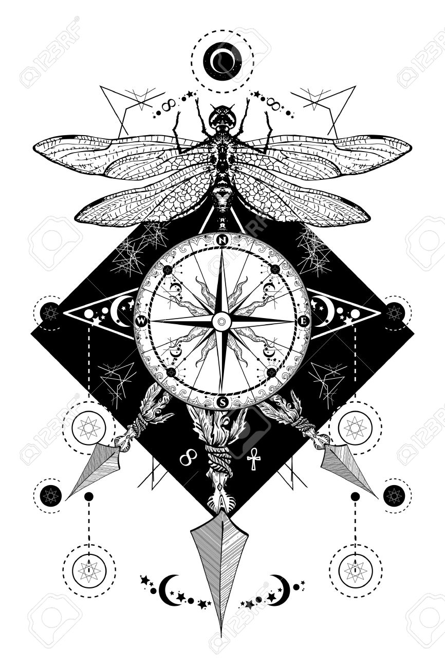 Libelula Brujula Cruzo Flechas Tatuaje Simbolos Misticos Viajero