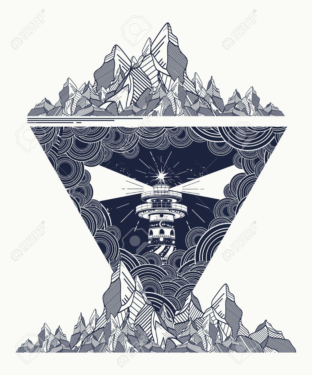 Lighthouse in the storm tattoo art, Lighthouse mountains geometric style tattoo, t-shirt design. Lighthouse marine tattoo, symbol of meditation, hiking, adventures - 67158651
