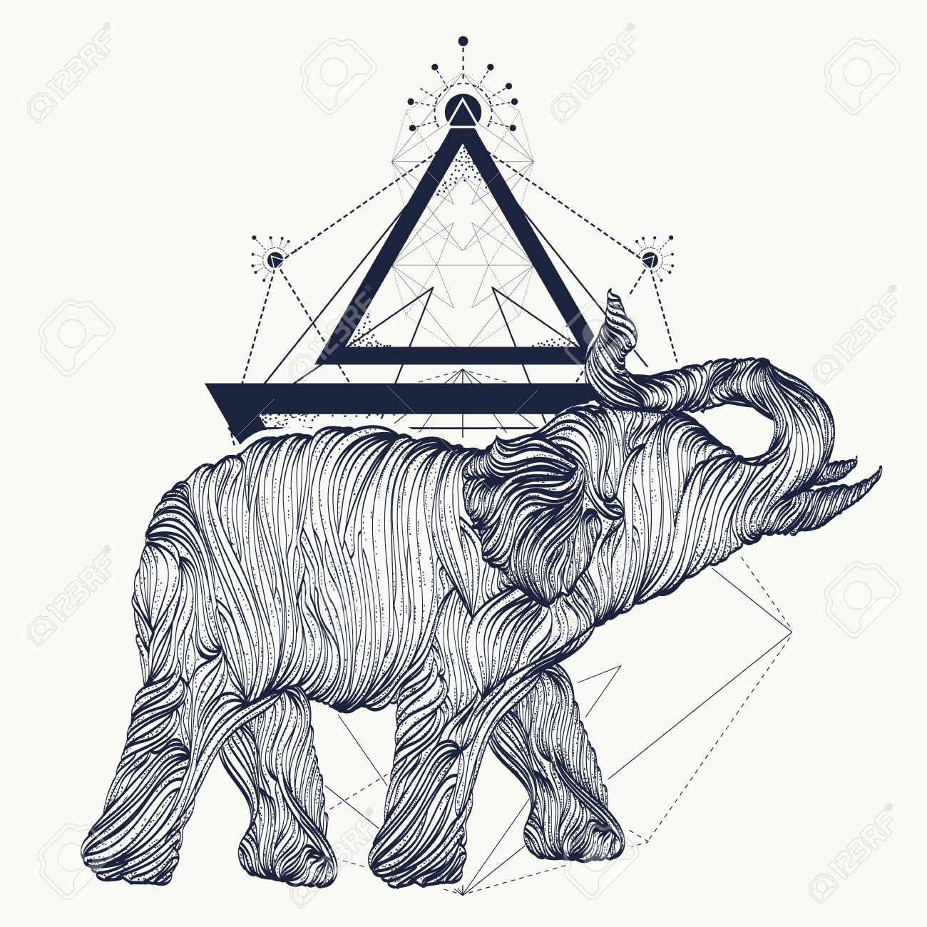 Elephant tattoo line art, dotwork sketch, elephant geometrical style t-shirt design. Symbol of meditation, tourism tattoo art - 67906482