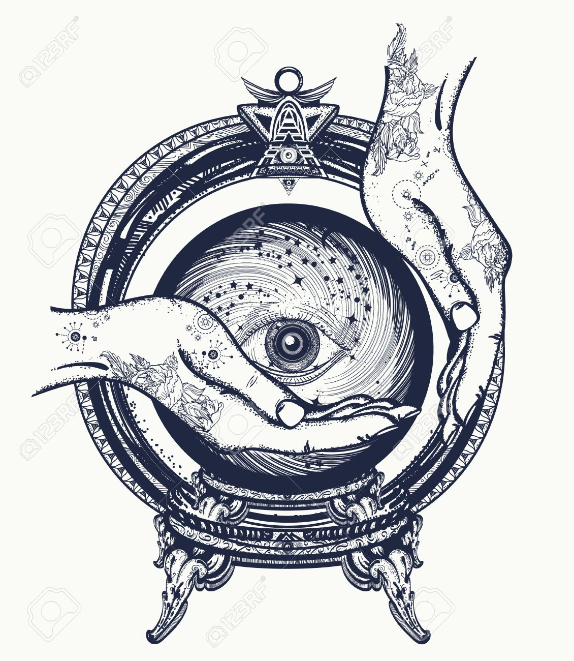 Fortune teller tattoo, crystal ball in their hands  Foretelling