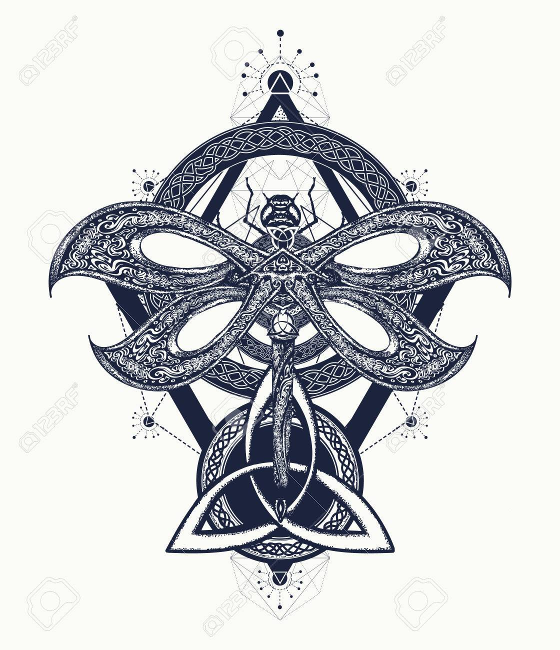 d8fc7ed98 Dragonfly tattoo celtic style. Hand drawn mystical symbols and insects.  Alchemy, religion,