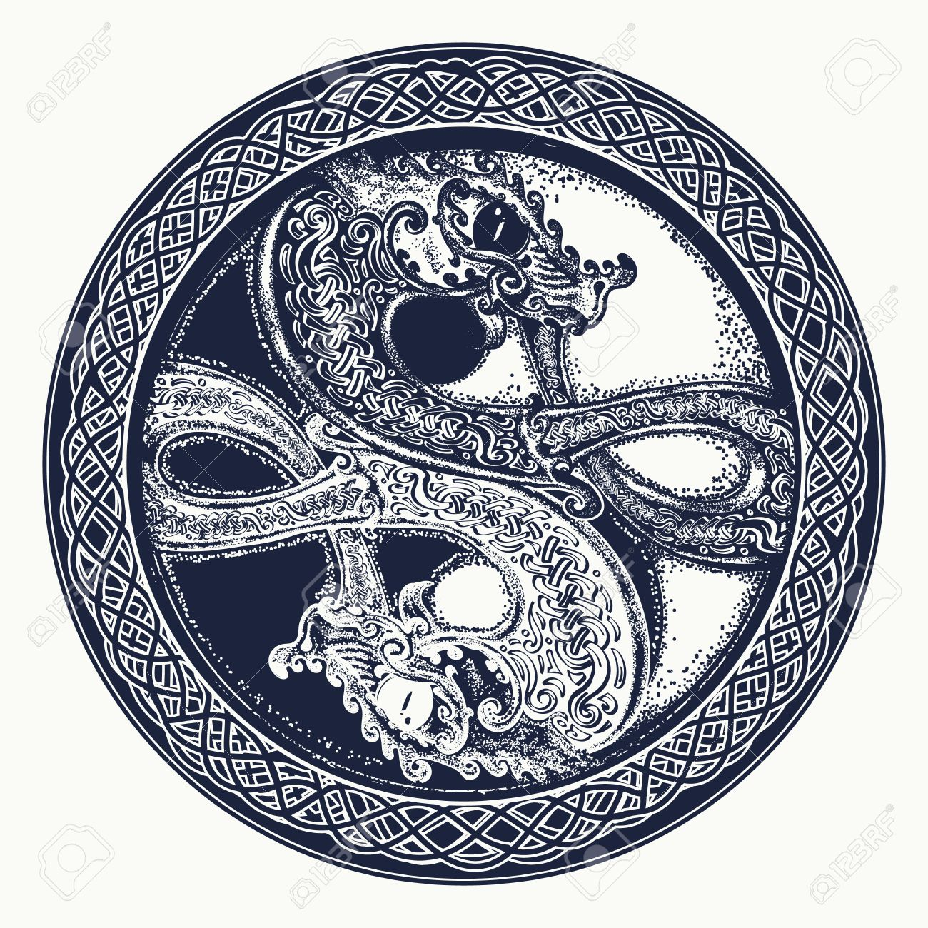 Two dragons in the celtic style tattoo black and white dragon two dragons in the celtic style tattoo black and white dragon in yin yang biocorpaavc Gallery