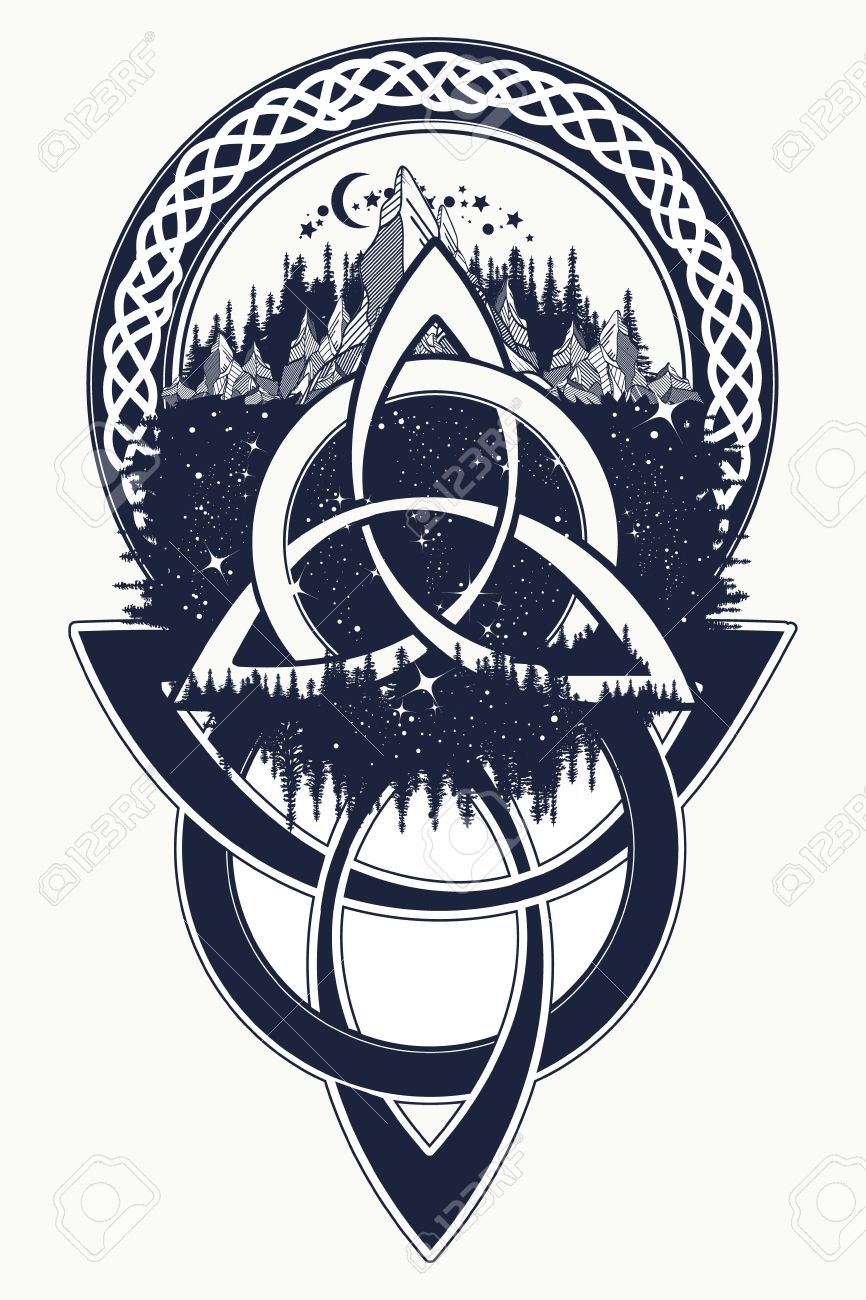 Celtic Knot Tattoo Mountain Forest Symbol Travel Symmetry Royalty Free Cliparts Vectors And Stock Illustration Image 68759603