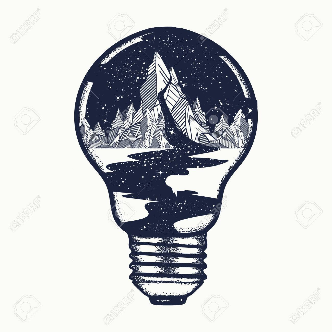 Mountains In A Light Bulb, Tattoo. Symbol Of A Travel, Tourism ...