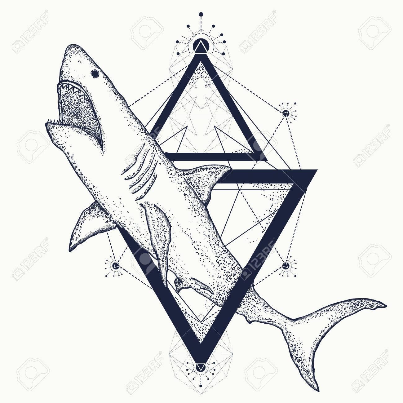 Shark Tattoo Geometric Style Tribal Art Shark Attack T Shirt