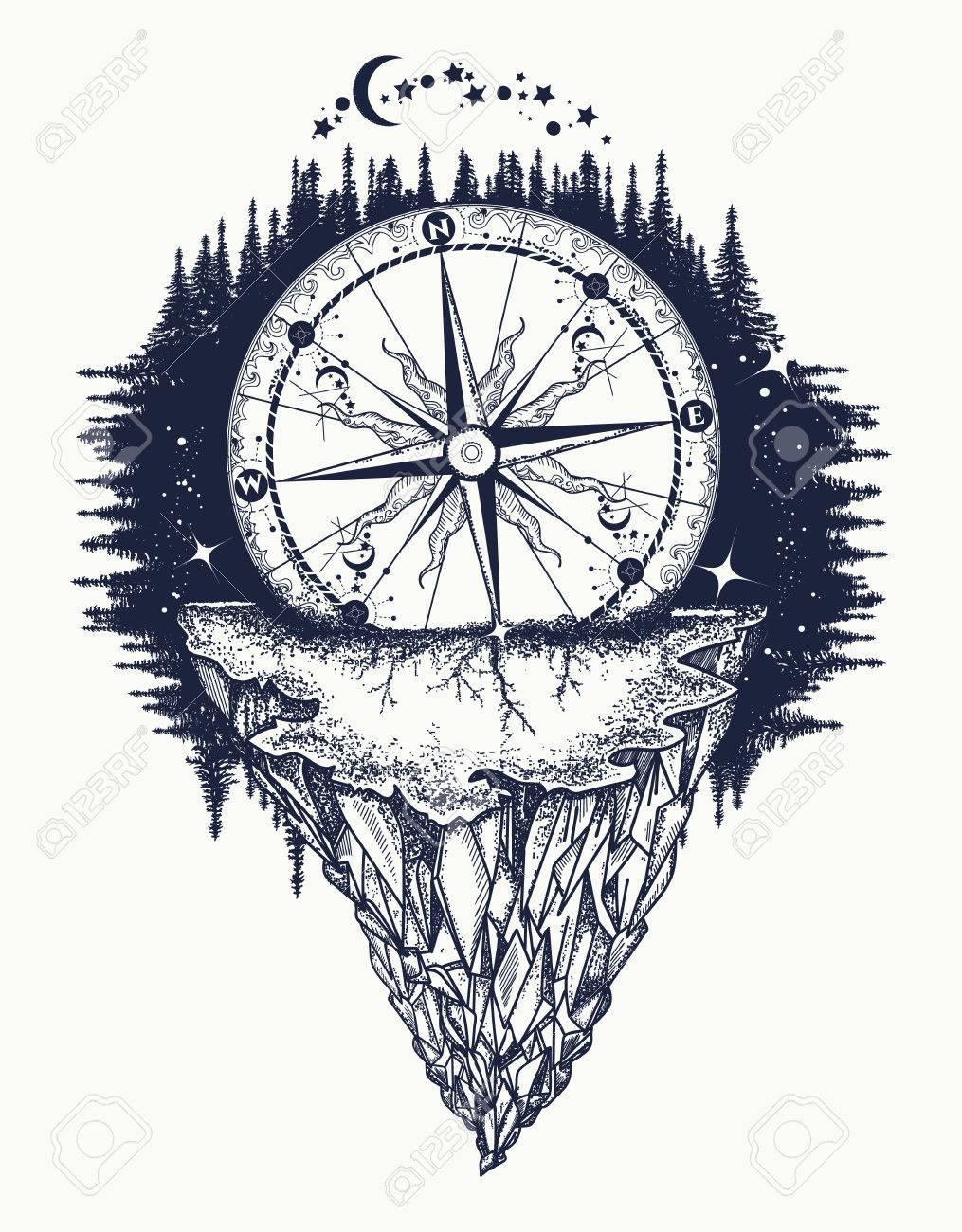 Montaña Antigua Brújula Rosa De Los Vientos Y El Arte Del Tatuaje