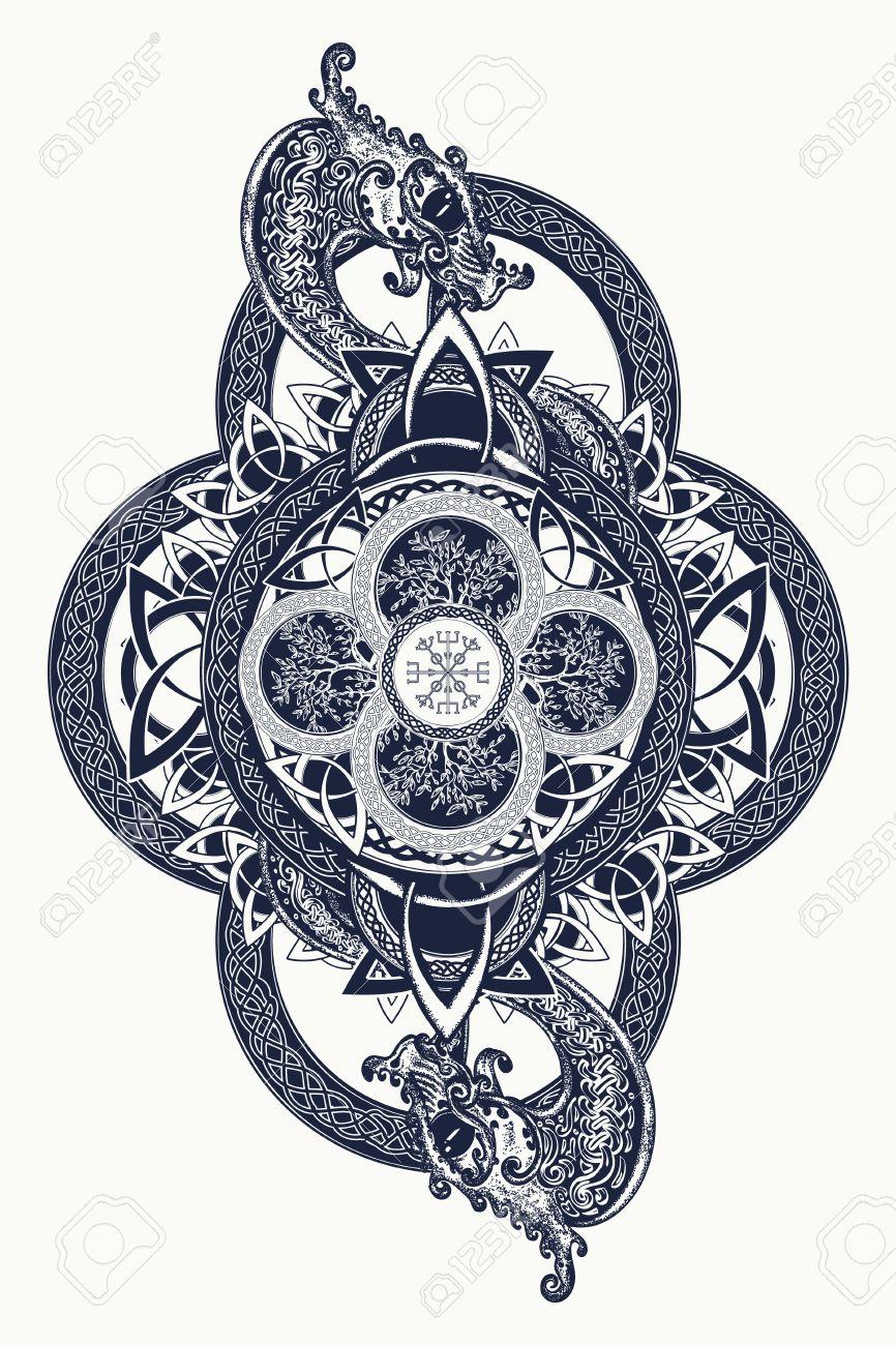 Drachen Und Keltische Baum Des Lebens Der Tätowierung Mystic