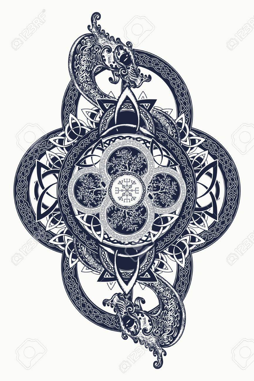 Dragons and Celtic tree of life, tattoo. Mystic tribal symbol and t-shirt design. Celtic mystical signs, tattoo art - 68759615