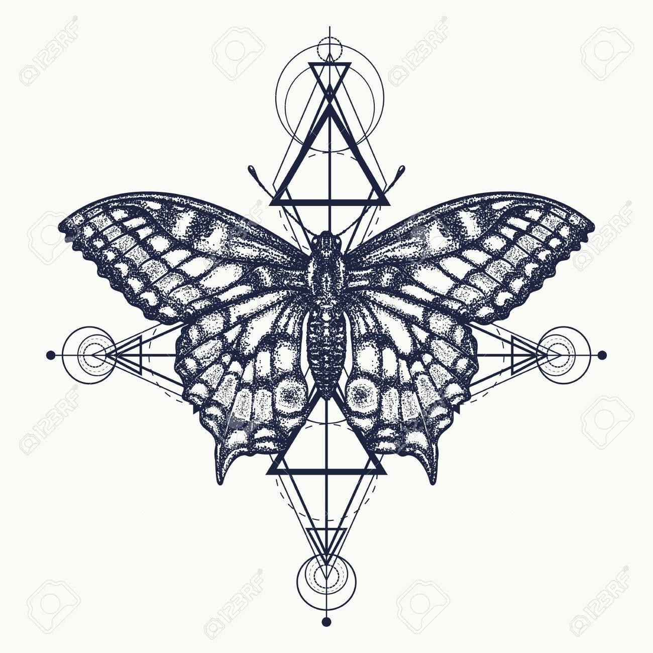 212608b05 Butterfly tattoo, geometrical style. Beautiful Swallowtail boho t-shirt  design. Mystical symbol