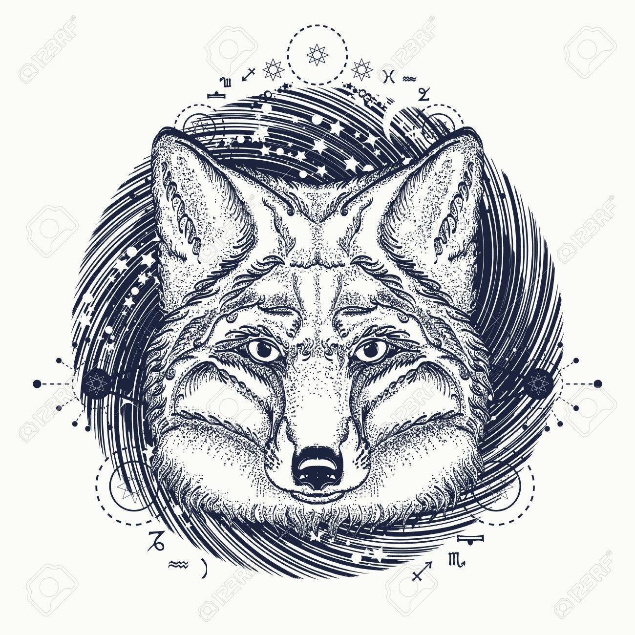 Fox tattoo symbol of a travel freedom tourism ethnic style symbol of a travel freedom tourism ethnic style t biocorpaavc Images