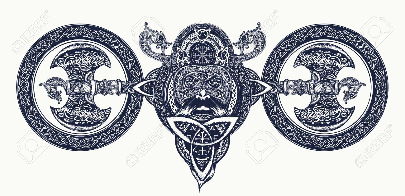 Viking tattoo celtic style north warrior head t shirt design viking tattoo celtic style north warrior head t shirt design axe biocorpaavc Gallery