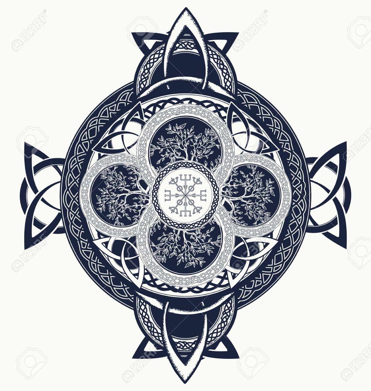 Celta Tatuaje De La Cruz Dragones Y árbol De La Vida Céltico