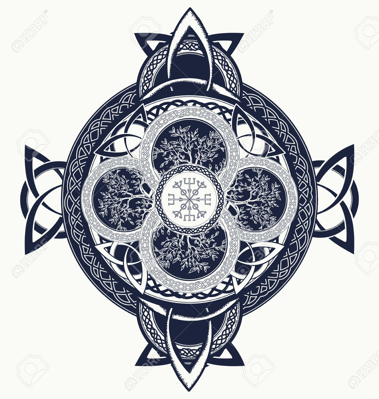 0fb48c436 Celtic cross tattoo. Dragons and celtic tree of life. Mystic tribal  scandinavian and Irish