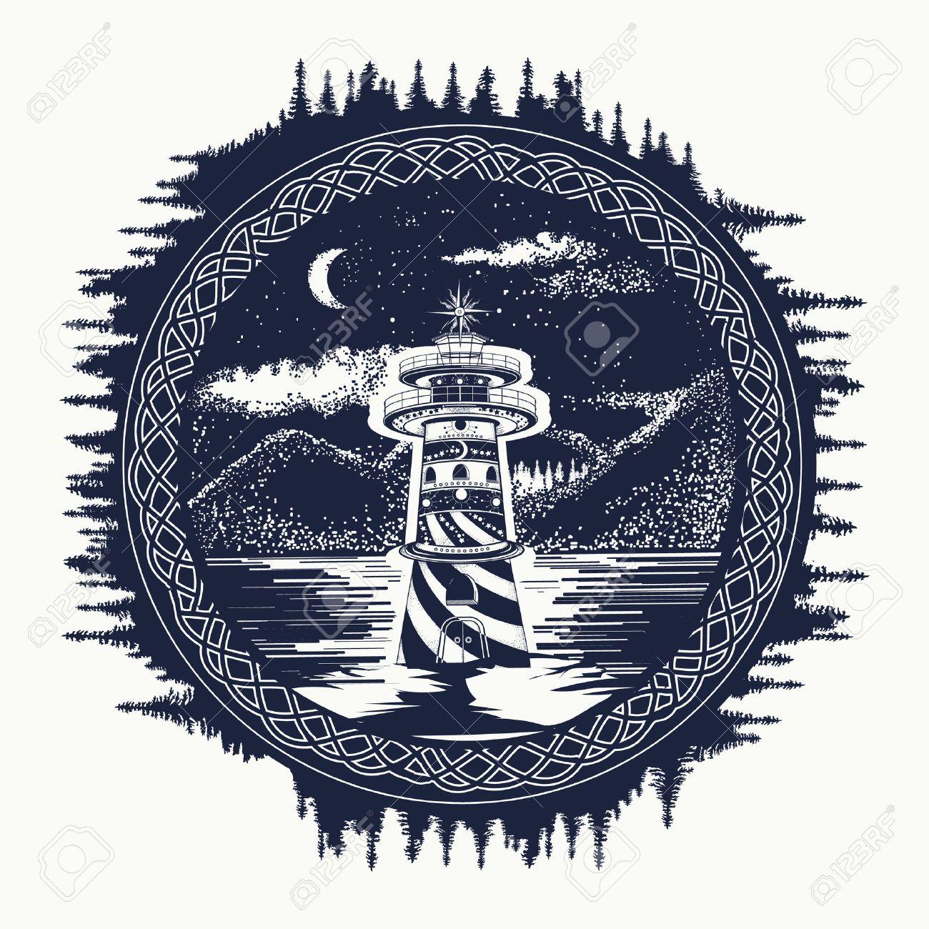 Lighthouse On The Mountain Lake Tattoo Art Symbol Of Travel