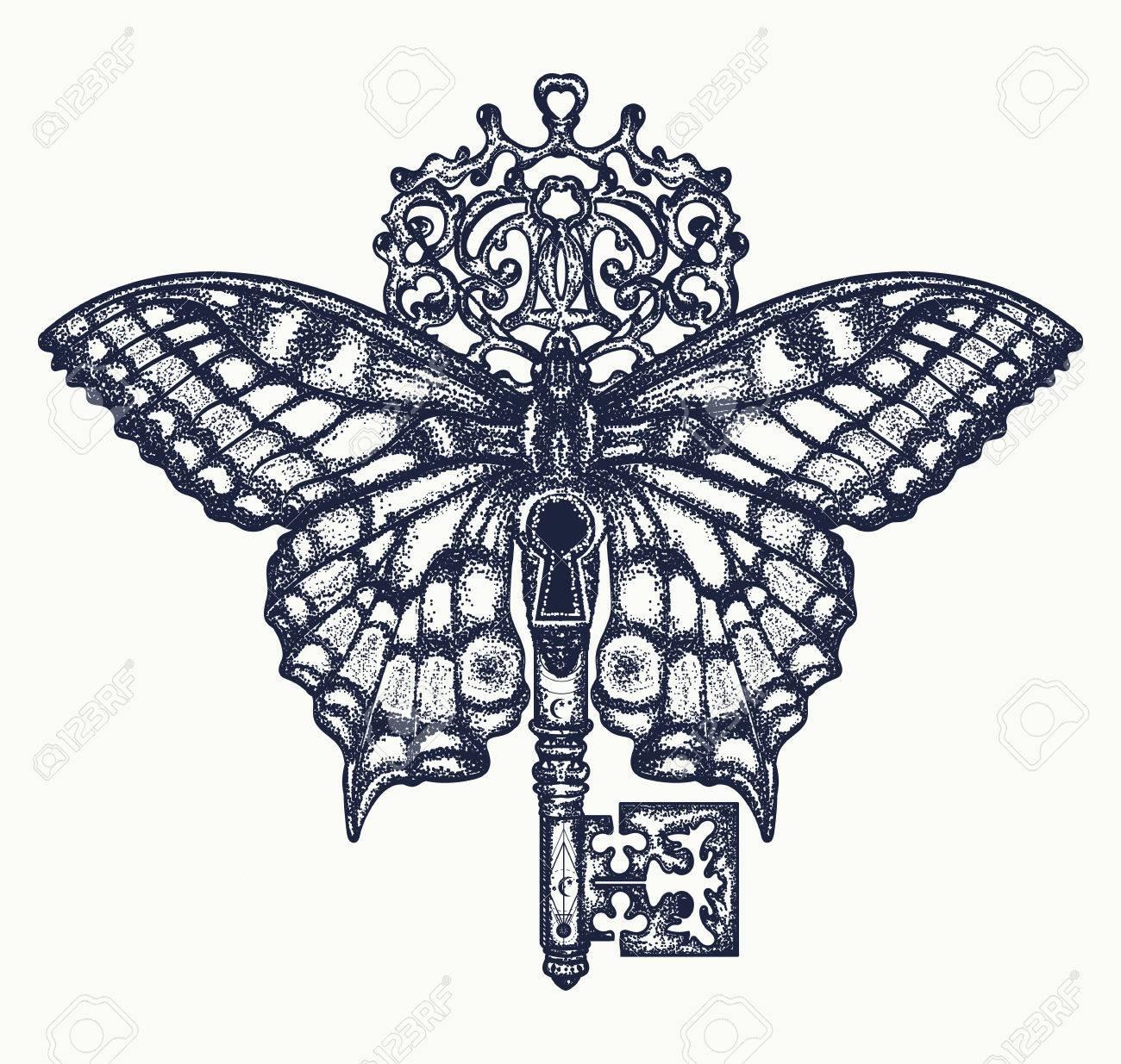 Butterfly And Key Tattoo Art Mystical Symbol Of Freedom Spiritual
