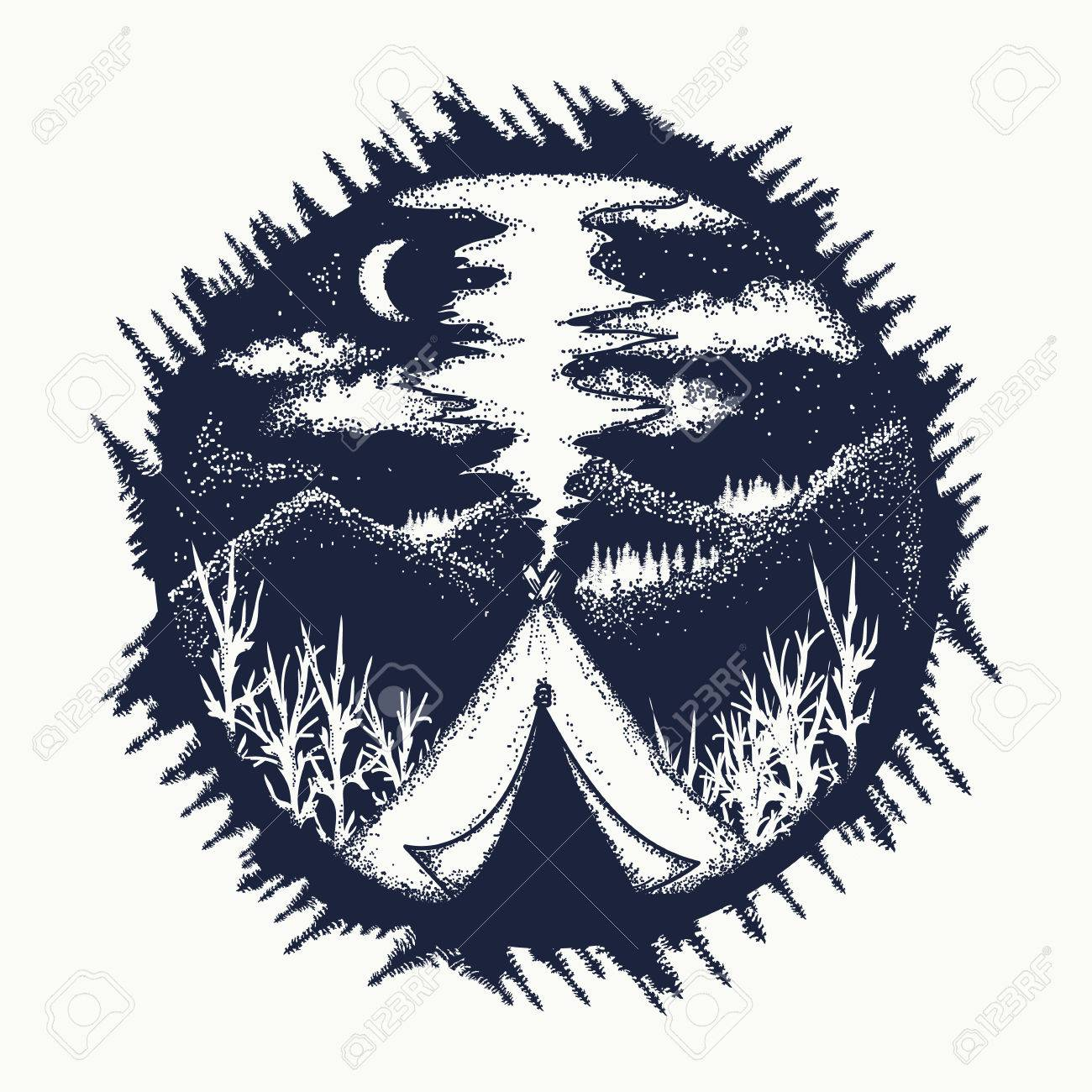 Tent in mountains tattoo art. Travel symbol, tourism, extreme sports, outdoor. Camping in the mountains moon night t-shirt design - 70188160
