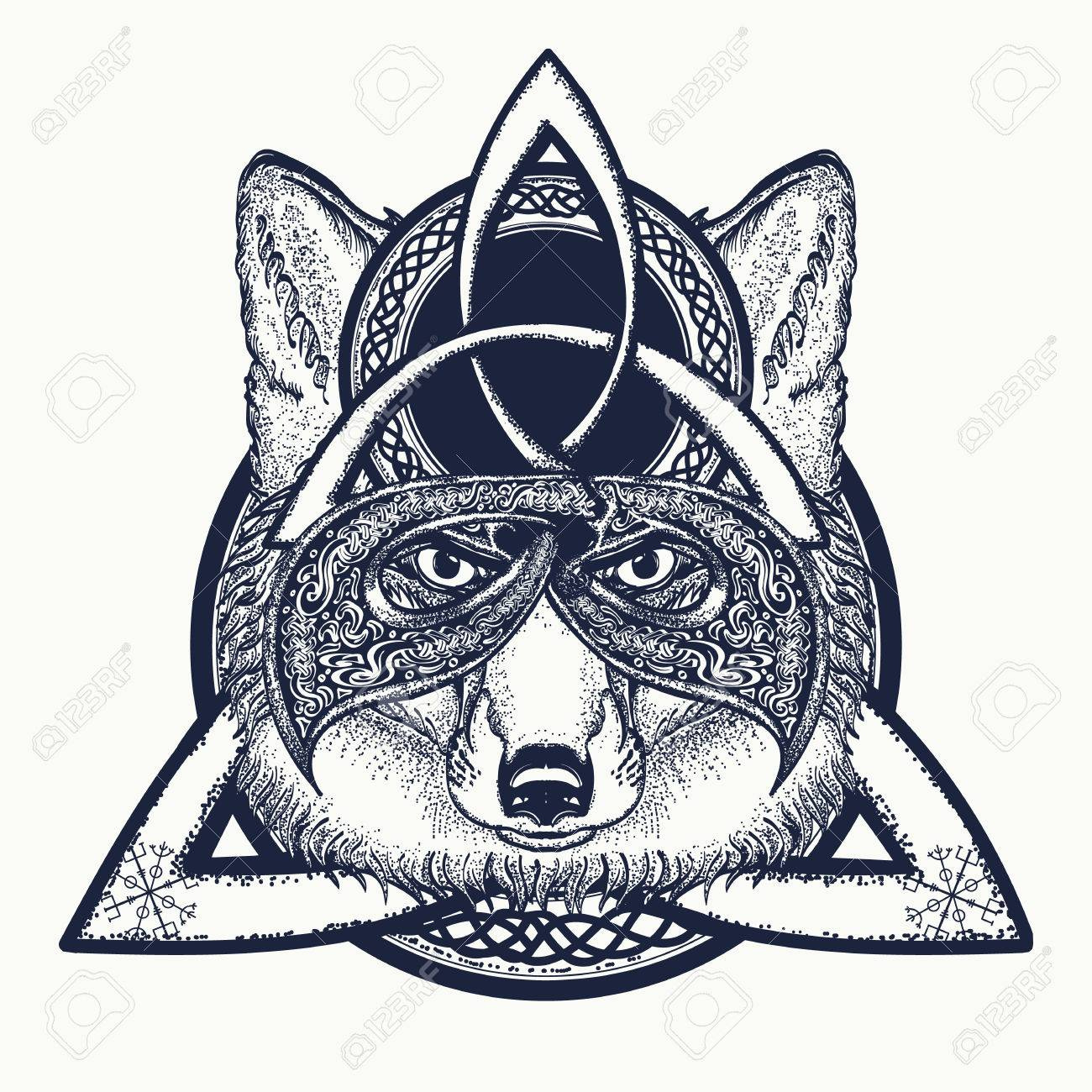 Fox viking in the celtic style tattoo art fox t shirt design art