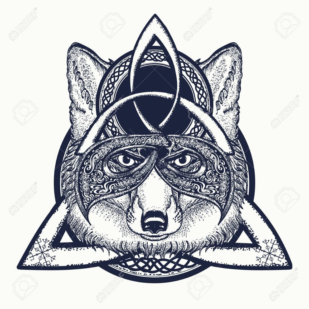Fox viking in the celtic style, tattoo art. Fox t-shirt design art animals. North tattoo - 70188162