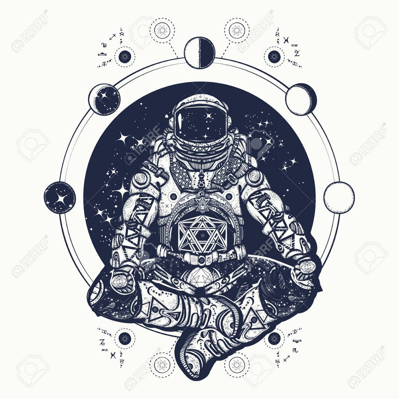 Astronaut In The Lotus Position Tattoo Art Symbol Of Meditation