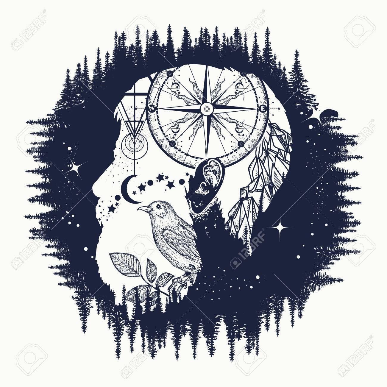 Hipster, double exposure tattoo art. Symbol travel, tourism, adventure. Portrait of hipster t-shirt design, compass, mountains, birds - 70188171