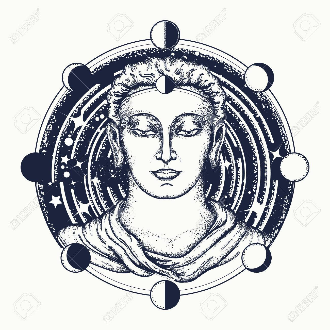Buddha face tattoo art symbol of immortality enlightenment buddha face tattoo art symbol of immortality enlightenment religion magic space biocorpaavc Images