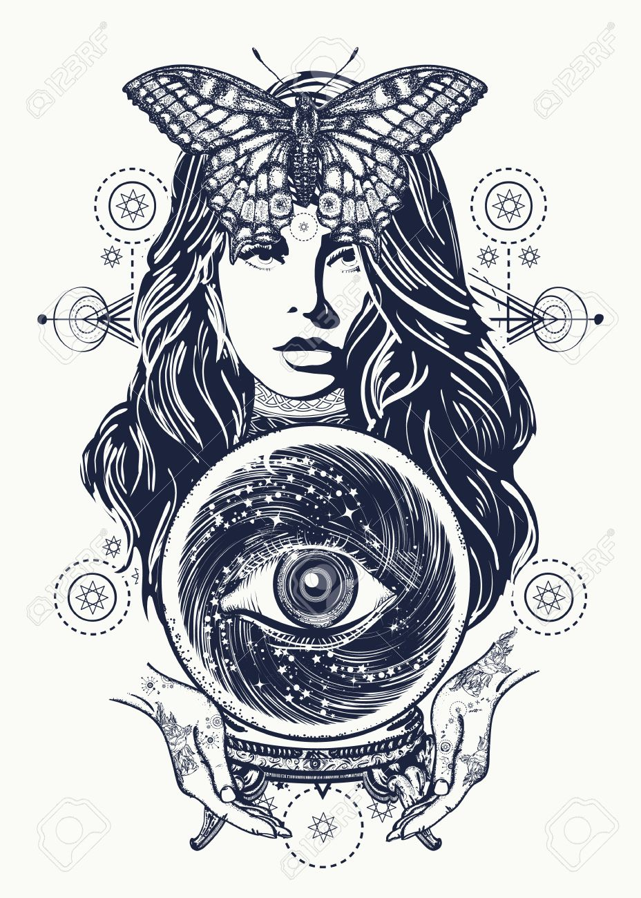 Magic woman tattoo art fortune teller crystal ball mystic magic woman tattoo art fortune teller crystal ball mystic and magic all buycottarizona Image collections