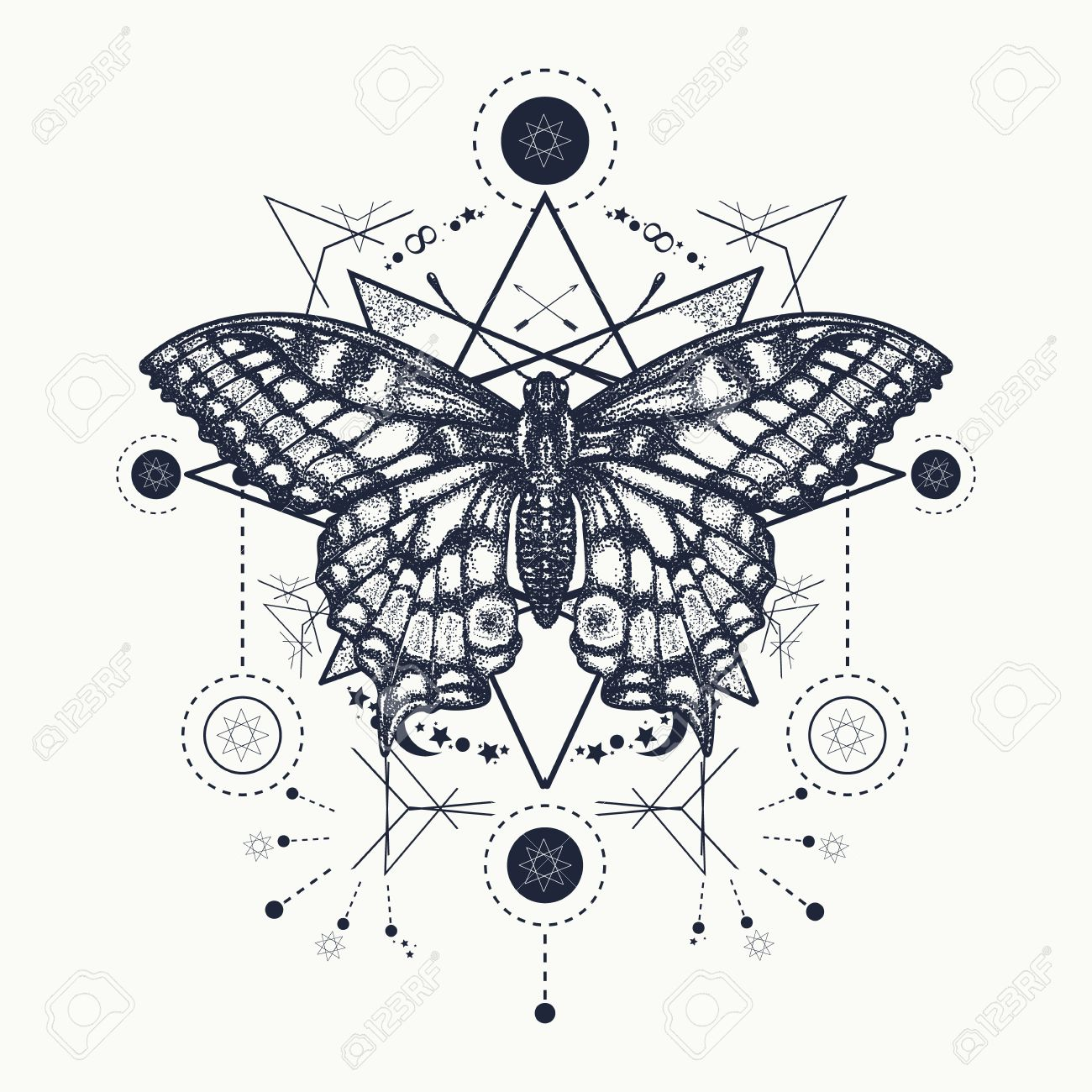 ccdbcf83b017e Butterfly tattoo geometrical style. Beautiful Swallowtail boho t-shirt  design. Mystical esoteric symbol