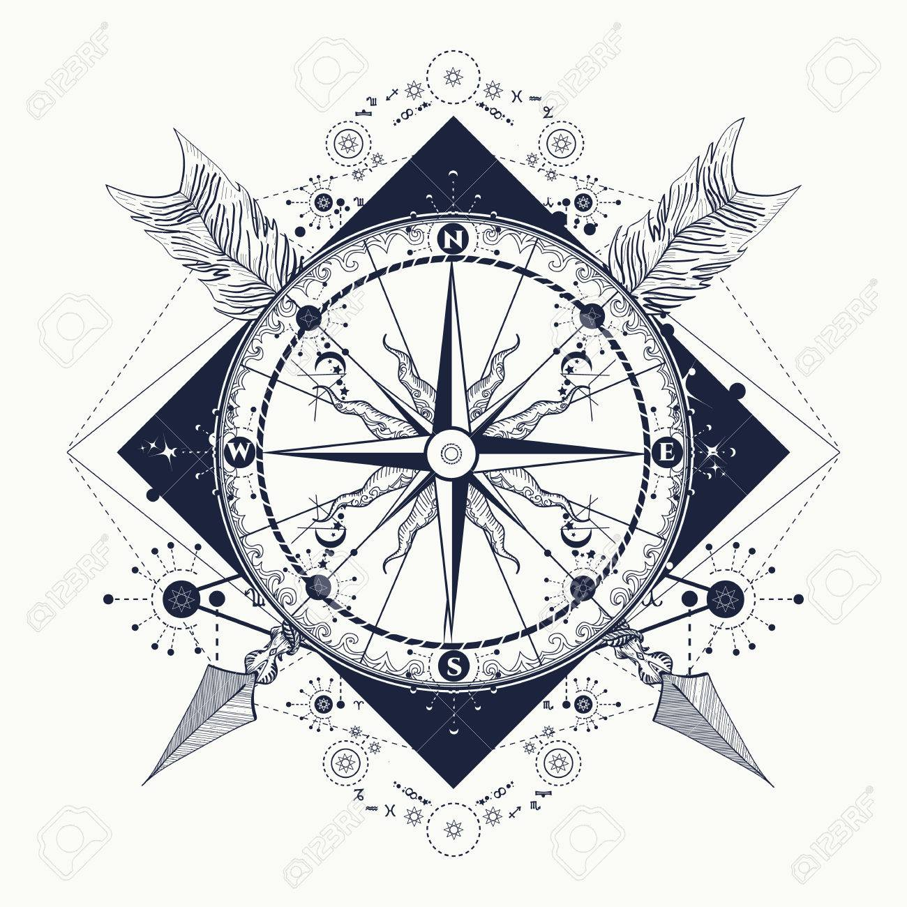 Brújula Y Flechas Cruzadas Arte Del Tatuaje Símbolo Del Turismo