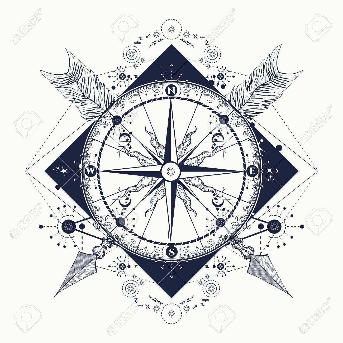 Compass Et Fleches Croisees L Art Du Tatouage Symbole Du Tourisme